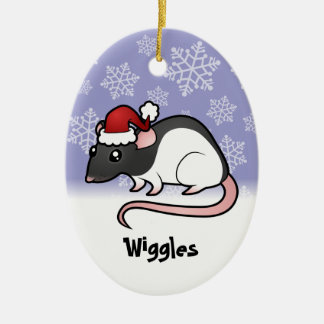 Christmas Rat (add your pets name) Ceramic Oval Decoration