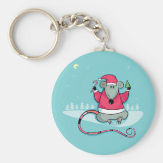 Christmas Rat in Santa Suit Basic Round Button Key Ring