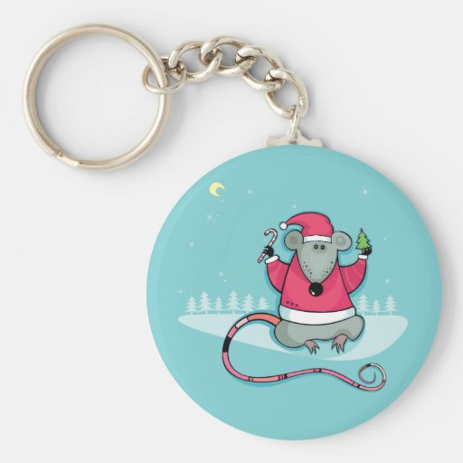 Christmas Rat in Santa Suit Key Chain