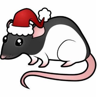 Christmas Rat Ornament Photo Sculpture Decoration