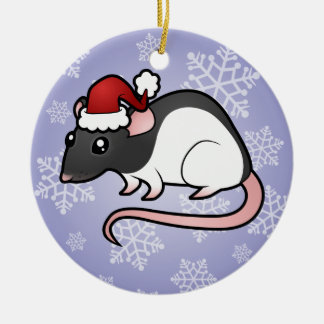Christmas Rat Round Ceramic Decoration