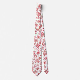 Christmas Red Abstract Snowflakes On White Tie