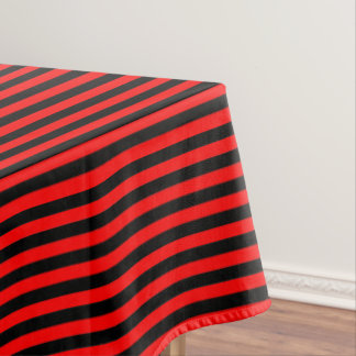 Christmas Red and Black Stripe Tablecloth