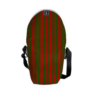 Christmas Red and Christmas Green Stripes Messenger Bag