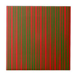 Christmas Red and Christmas Green Stripes Ceramic Tile