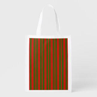 Christmas Red and Christmas Green Stripes Reusable Grocery Bag
