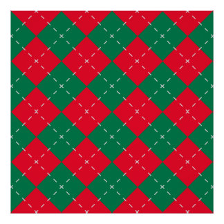 Christmas Red and Green Argyle Pattern Poster