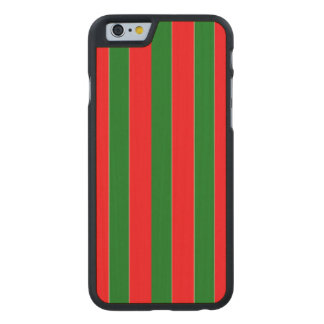 Christmas Red and Green Candy Cane Stripes Carved® Maple iPhone 6 Case