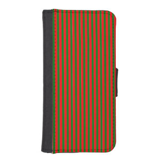 Christmas Red and Green Candy Cane Stripes iPhone 5 Wallet Cases