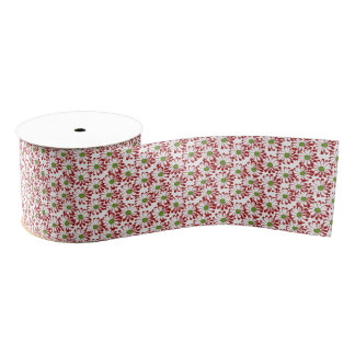 Christmas Red and Green Daisy Floral Pattern Grosgrain Ribbon