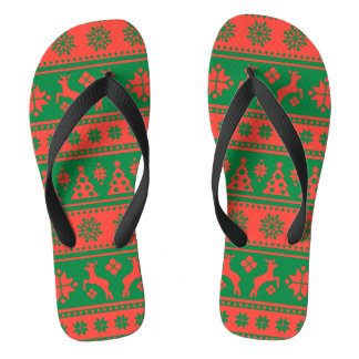 Christmas Red and Green Deer and Trees Pattern Flip Flops