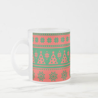 Christmas Red and Green Deer and Trees Pattern Frosted Glass Coffee Mug