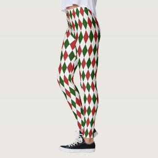 Christmas Red and Green Harlequin Argyle Diamond Leggings