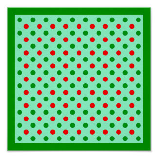 Christmas Red and Green Polka Dots Poster