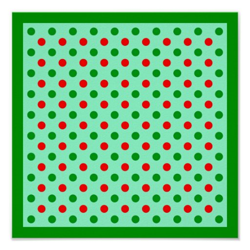 Christmas Red and Green Polka Dots Poster