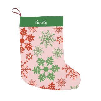 Christmas red and green snowflakes small christmas stocking