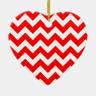 Christmas red and white chevron stripes pattern christmas ornament