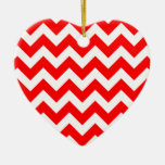 Christmas red and white chevron stripes pattern ceramic heart decoration