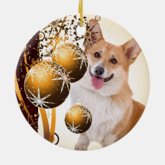 Christmas Red and white Corgi Christmas Ornament