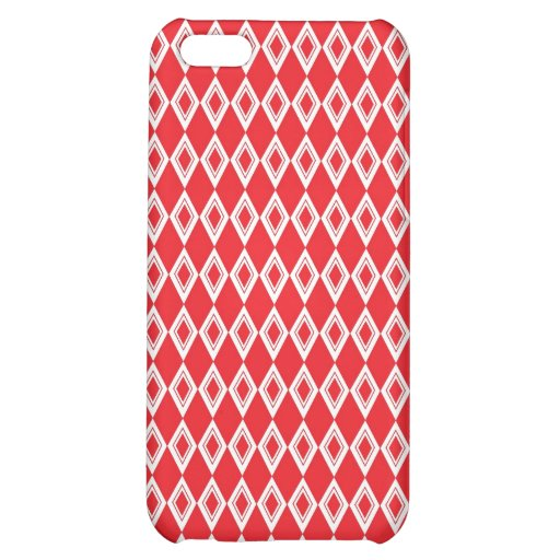 Christmas Red and White Diamond Pattern iPhone 5C Cases