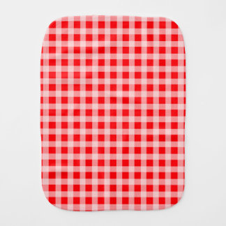 Christmas Red and White Gingham Check Pattern Baby Burp Cloths