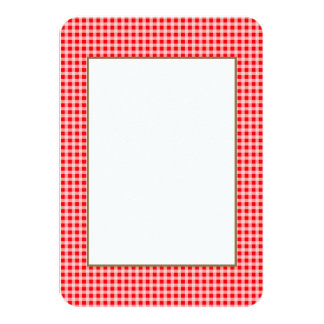 Christmas Red and White Gingham Check Pattern 9 Cm X 13 Cm Invitation Card
