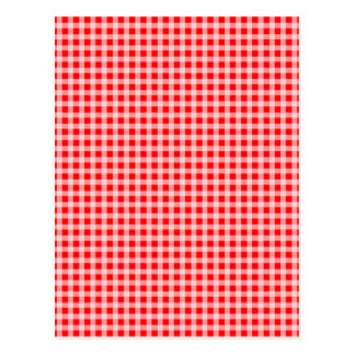 Christmas Red and White Gingham Check Pattern Postcard