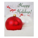 Christmas Red And White Happy Holidays V Print