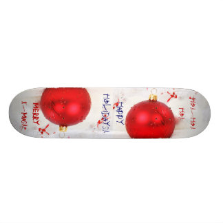 Christmas Red And White Happy Holidays V Skate Board
