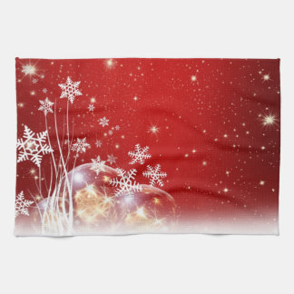 Christmas red and white holidays tea towel