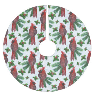 Christmas red bird pattern Holiday tree skirt