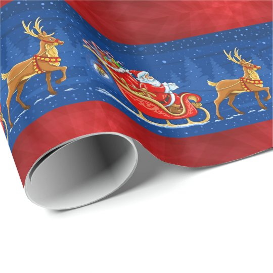 Christmas red blue Santa riding sleigh wrap Wrapping
