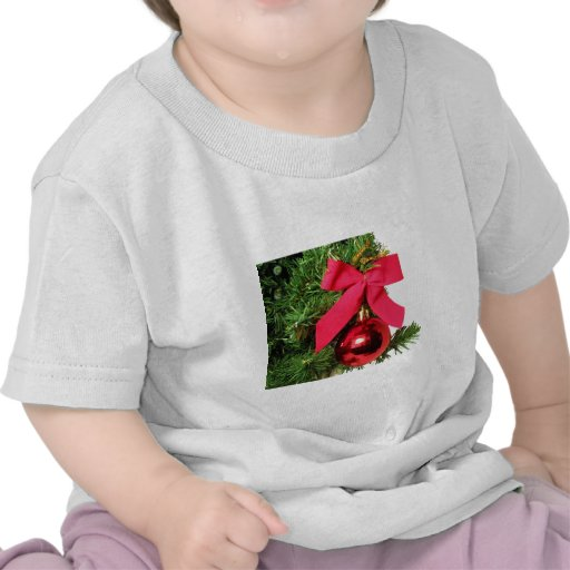 Christmas red bow and ornament t-shirts