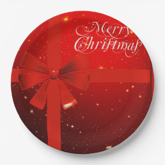 Christmas red bow holidays 9 inch paper plate