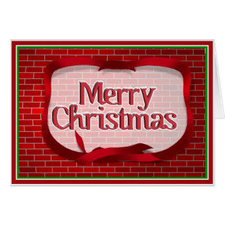 Christmas Red Brick Background Card
