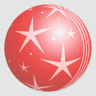 Christmas Red Bubble Stars & Sparkles Round Sticker