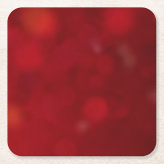 Christmas Red Burgundy Bokeh Background Pattern Square Paper Coaster