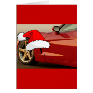 Christmas Red Corvette Greeting Card