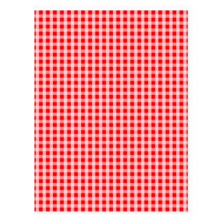 Christmas Red Gingham Check Plaid Pattern Postcard