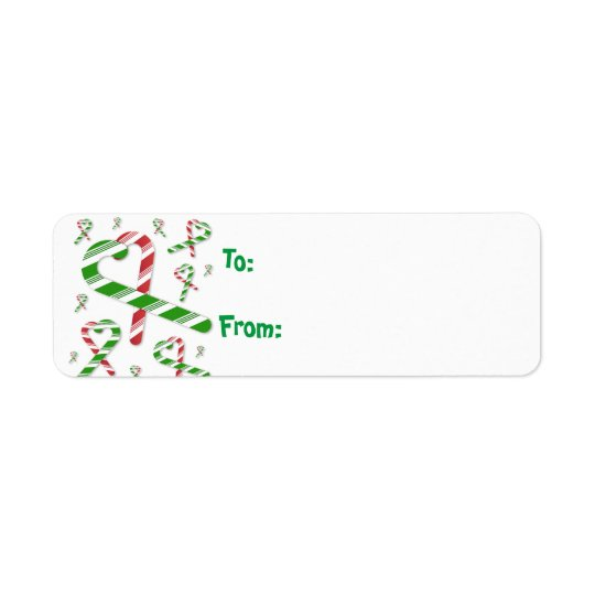 Christmas Red Green Candy Cane Gift tag Lables Return Address Label