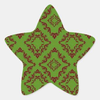 christmas red green diamond damask sticker