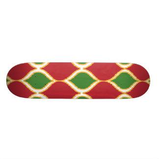 Christmas Red Green Geo Ikat Tribal Print Pattern Custom Skate Board