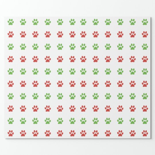 Christmas Red & Green Pet Paw Print Pattern