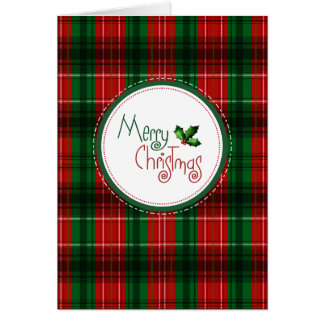 Christmas Red Green Plaid Holiday Greeting Card