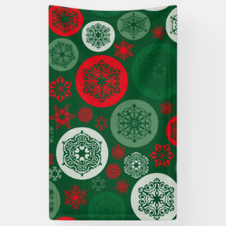 Christmas Red & Green Snowflakes Ornaments Pattern Banner