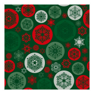 Christmas Red & Green Snowflakes Ornaments Pattern Poster