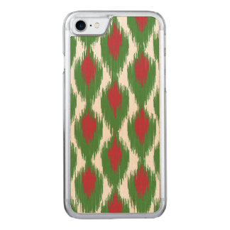 Christmas Red Green Tribal Ikat Diamond Pattern Carved iPhone 8/7 Case