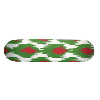 Christmas Red Green Tribal Ikat Diamond Pattern Skate Board Decks