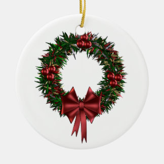 Christmas Red & Green Wreath Ceramic Ornament