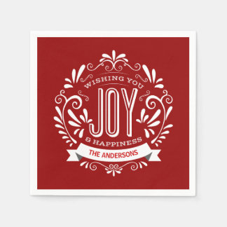 CHRISTMAS RED HOLIDAY JOY CHALKBOARD PERSONALIZED DISPOSABLE NAPKIN